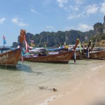 Longtail boats on beach