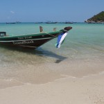 Longtail boat on beach